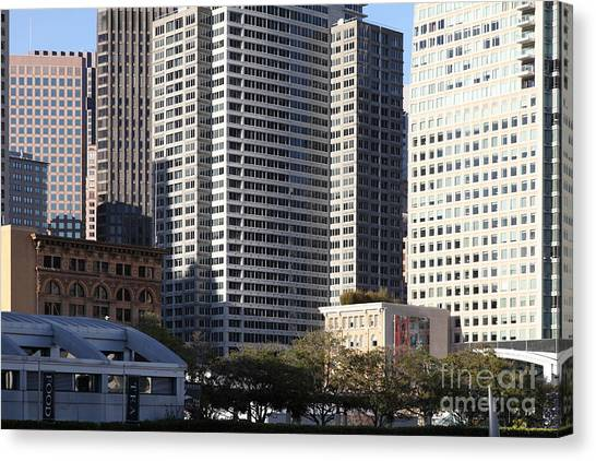 Tall Buildings Of San Francisco - 5d20505 Canvas Print by Wingsdomain Art and Photography