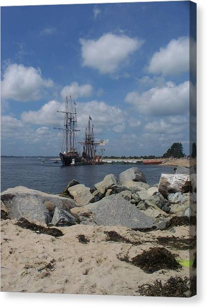 Tall Ships In The Distance Canvas Print by Rosanne Bartlett
