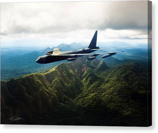 Linebackers Canvas Print - Tall Tail B-52 by Peter Chilelli