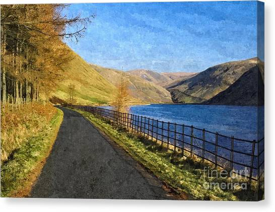 Talla Reservoir Scottish Borders Photo Art Canvas Print