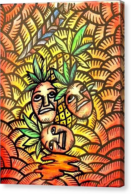 Talupan Ang Pinya Peel The Pineapples Canvas Print
