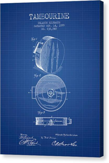 Tambourines Canvas Print - Tambourine Musical Instrument Patent From 1899 - Blueprint by Aged Pixel