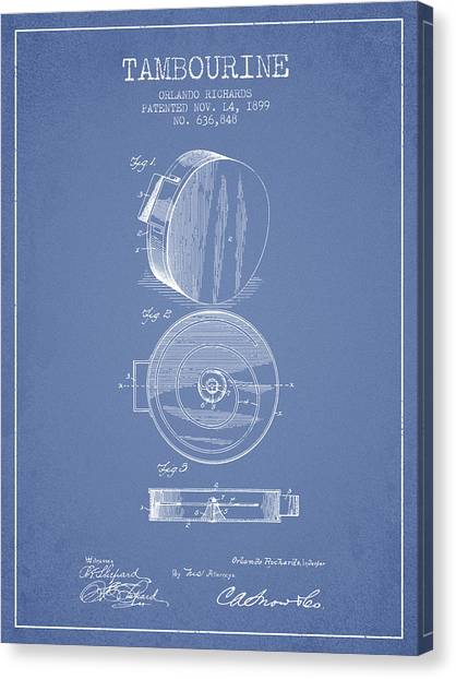Tambourines Canvas Print - Tambourine Musical Instrument Patent From 1899 - Light Blue by Aged Pixel