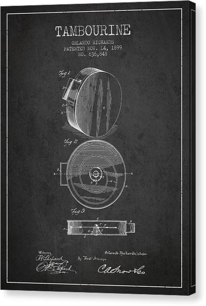 Tambourines Canvas Print - Tambourine Musical Instrument Patent From 1899 - Charcoal by Aged Pixel