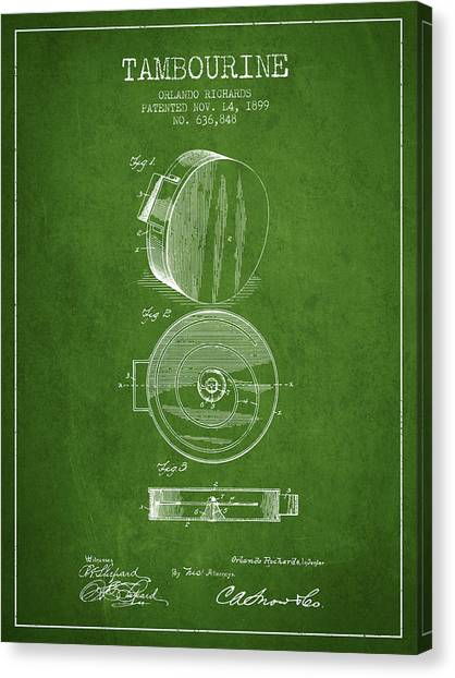 Tambourines Canvas Print - Tambourine Musical Instrument Patent From 1899 - Green by Aged Pixel