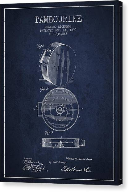 Tambourines Canvas Print - Tambourine Musical Instrument Patent From 1899 - Navy Blue by Aged Pixel