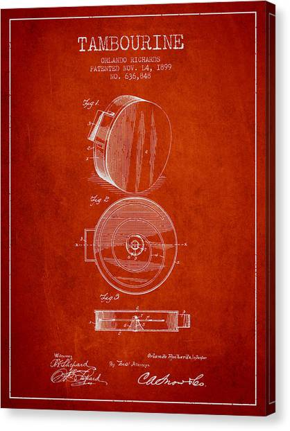 Tambourines Canvas Print - Tambourine Musical Instrument Patent From 1899 - Red by Aged Pixel