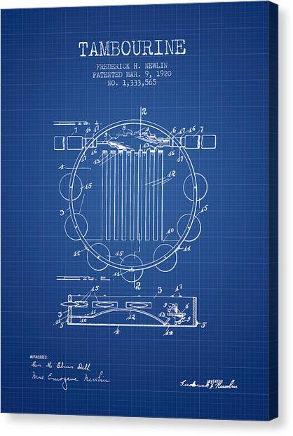 Tambourines Canvas Print - Tambourine Musical Instrument Patent From 1920 - Blueprint by Aged Pixel