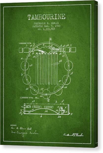 Tambourines Canvas Print - Tambourine Musical Instrument Patent From 1920 - Green by Aged Pixel