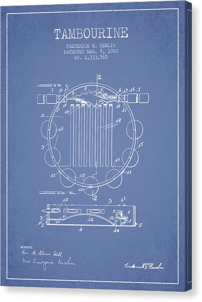 Tambourines Canvas Print - Tambourine Musical Instrument Patent From 1920 - Light Blue by Aged Pixel