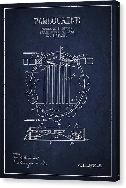 Tambourines Canvas Print - Tambourine Musical Instrument Patent From 1920 - Navy Blue by Aged Pixel