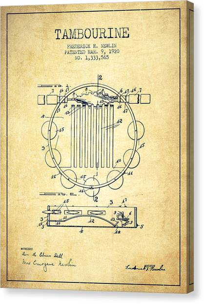 Tambourines Canvas Print - Tambourine Musical Instrument Patent From 1920 - Vintage by Aged Pixel