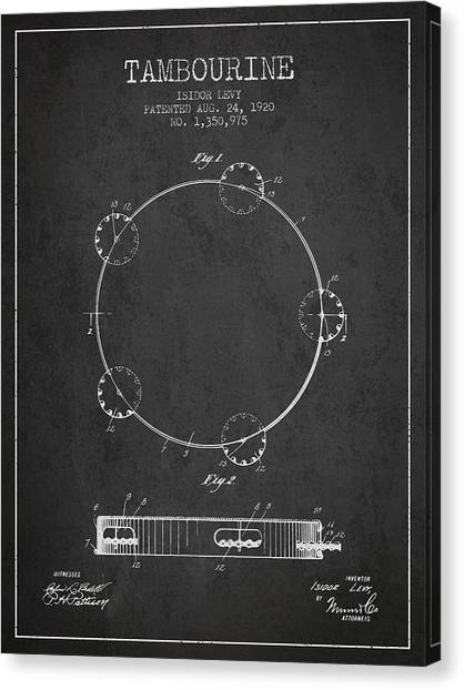 Tambourines Canvas Print - Tambourine Patent From 1920 - Dark by Aged Pixel