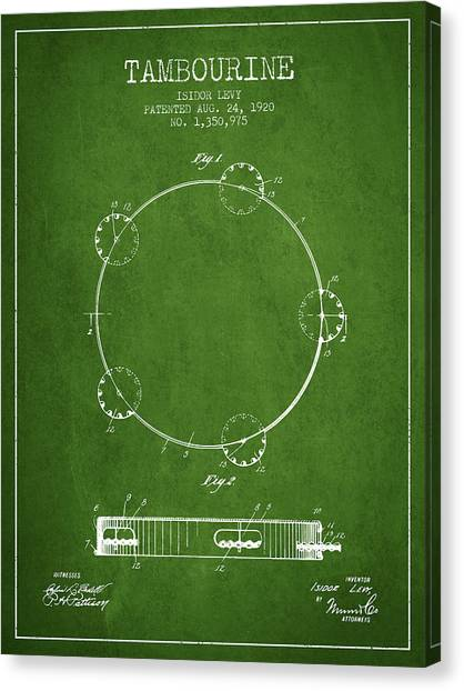 Tambourines Canvas Print - Tambourine Patent From 1920 - Green by Aged Pixel