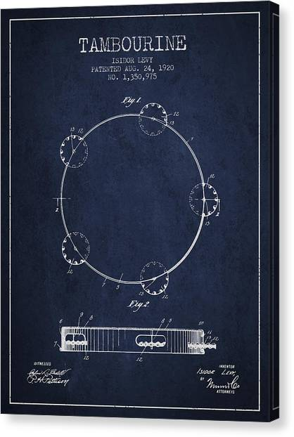 Tambourines Canvas Print - Tambourine Patent From 1920 - Navy Blue by Aged Pixel