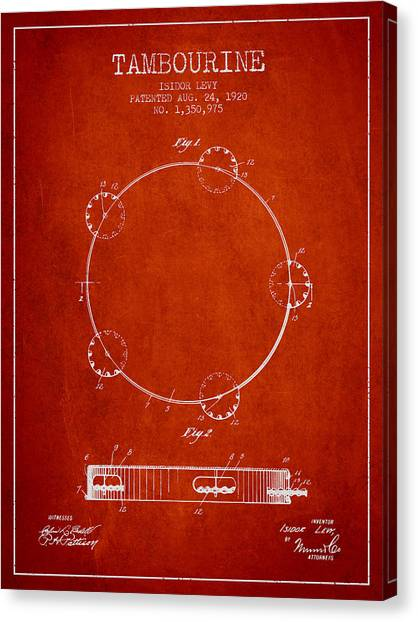 Tambourines Canvas Print - Tambourine Patent From 1920 - Red by Aged Pixel