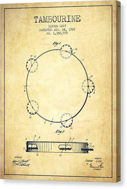 Tambourines Canvas Print - Tambourine Patent From 1920 - Vintage by Aged Pixel