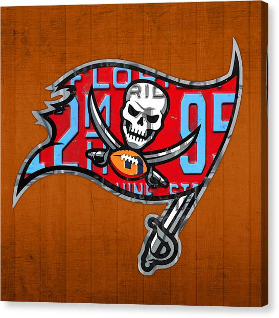 Tampa Bay Buccaneers Canvas Print - Tampa Bay Buccaneers Football Team Retro Logo Florida License Plate Art by Design Turnpike