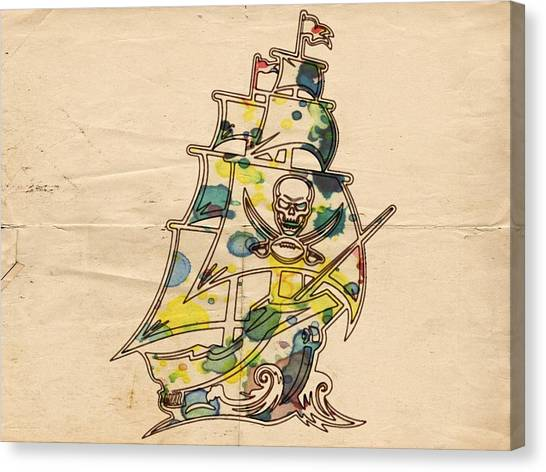 Tampa Bay Buccaneers Canvas Print - Tampa Bay Buccaneers Vintage Art by Florian Rodarte