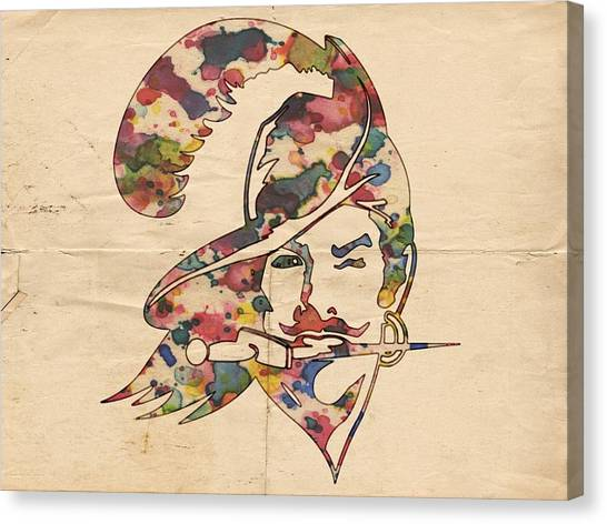 Tampa Bay Buccaneers Canvas Print - Tampa Bay Buccaneers Vintage Logo by Florian Rodarte