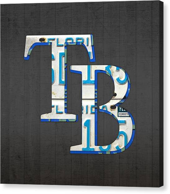 Tampa Bay Rays Canvas Print - Tampa Bay Devil Rays Baseball Team Vintage Logo Recycled Florida License Plate Art by Design Turnpike