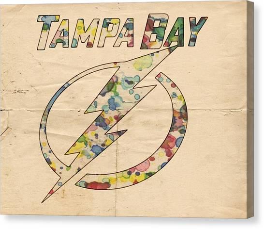 Tampa Bay Lightning Canvas Print - Tampa Bay Lightning Retro Poster by Florian Rodarte