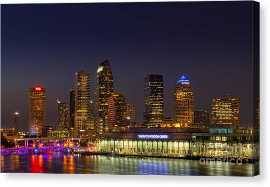 Tampa Lights At Dusk Canvas Print