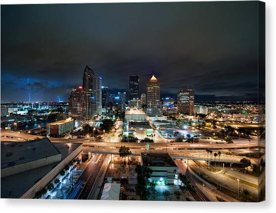 Tampa Skyline With Lightning Canvas Print