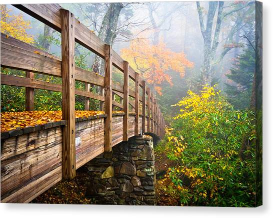 Blue Ridge Parkway Canvas Print - Tanawha Trail Foot Bridge - Rough Ridge Autumn Foliage Nc by Dave Allen