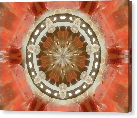Tangerine Lemurian Seed Crystal Mandala Canvas Print