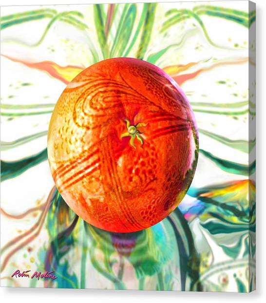 Tangerines Canvas Print - Tangerine Orb Nouveau by Robin Moline