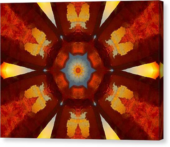 Tangerine Sunset Crystal Mandala Canvas Print