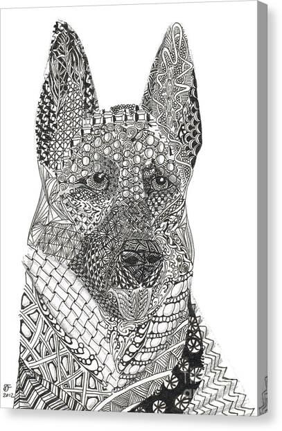 Tangled German Shepherd Canvas Print