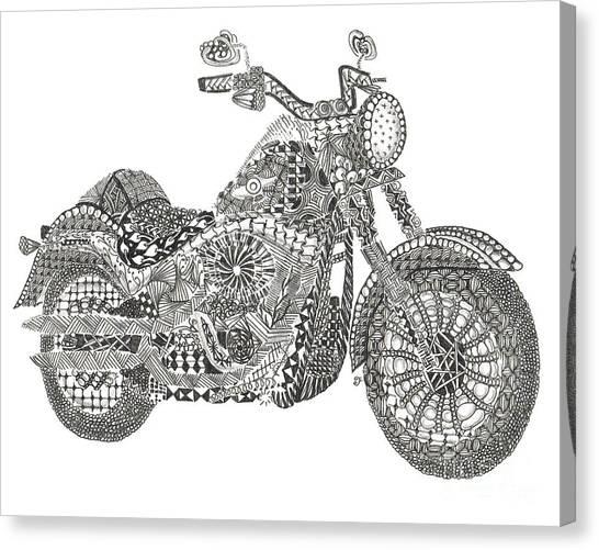 Tangled Harley Davidson Fatboy Canvas Print