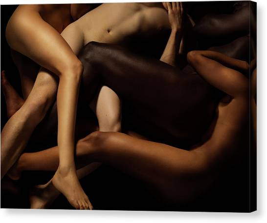 Tangled Human Bodies Of Different Skin Canvas Print