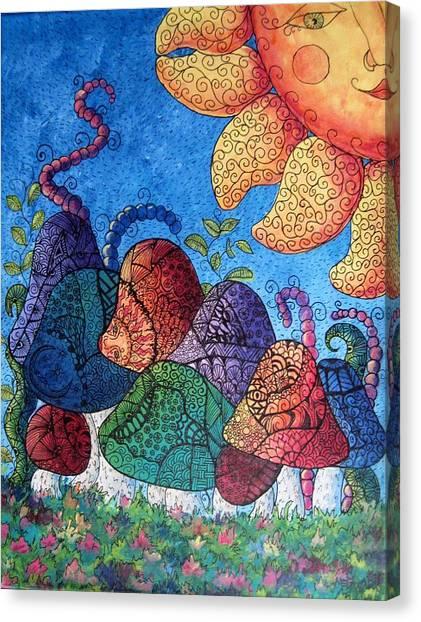 Tangled Mushrooms Canvas Print