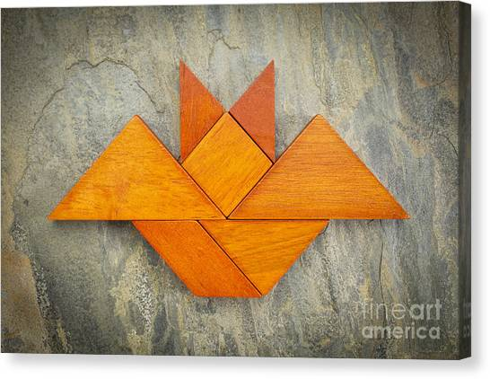 Tangram Bat Abstract Canvas Print