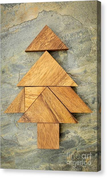 tangram Christmas tree Canvas Print