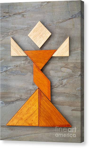 Tangram Dancer Figure Canvas Print