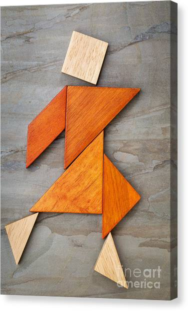Tangram Dancing Figure Canvas Print