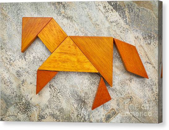 Tangram Horse Abstract Canvas Print