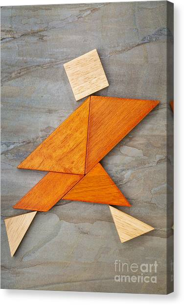 Tangram Running Figure Canvas Print