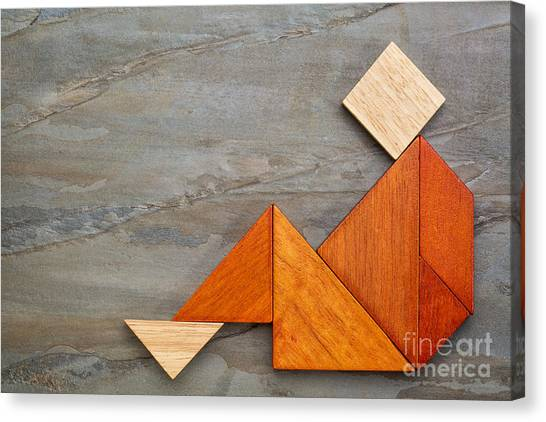 Tangram Sitting Figure Canvas Print