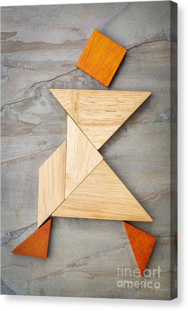 Tangram Walking Figure Canvas Print