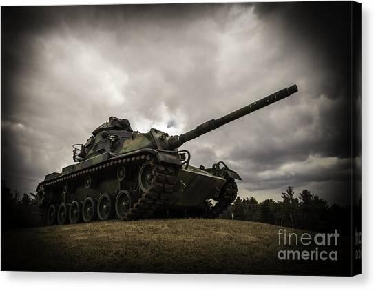 Green Camo Canvas Print - Tank World War 2 by Glenn Gordon