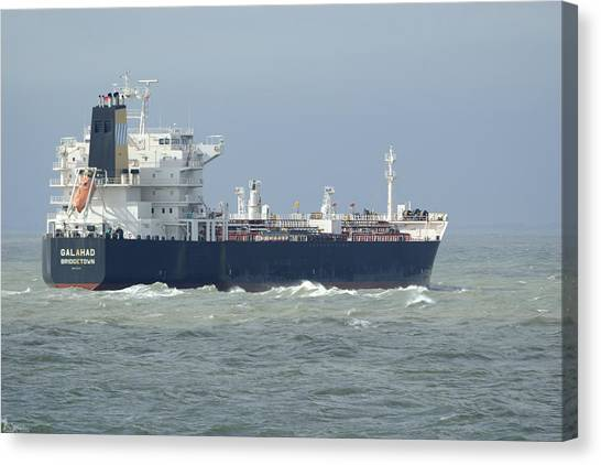 Tanker Heading At Sea Canvas Print