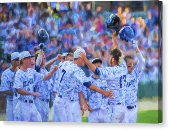 Indiana University Iu Canvas Print - Tanner Tully Elkhart Central Blazers Celebrate His Home Run by David Haskett II
