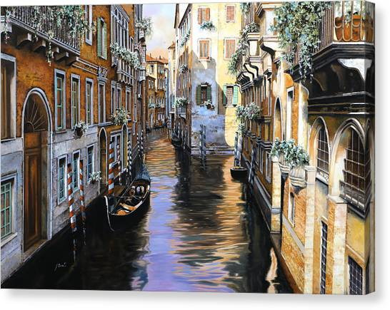 Dock Canvas Print - Tanta Luce A Venezia by Guido Borelli