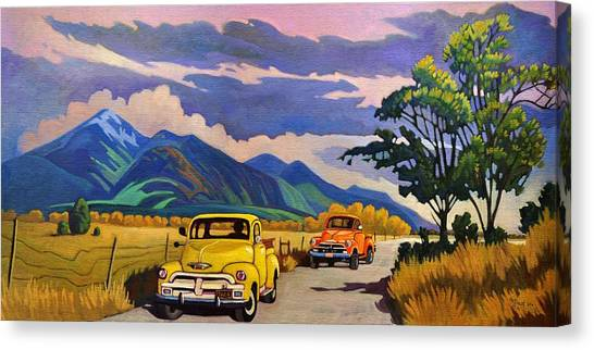 Taos Joy Ride With Yellow And Orange Trucks Canvas Print