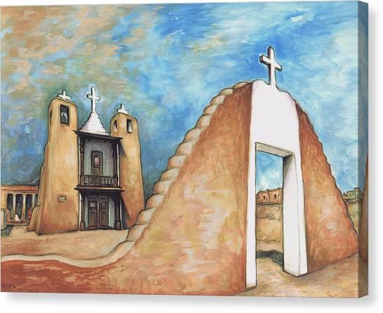 Taos Pueblo New Mexico - Watercolor Art Canvas Print